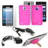 Samsung Infuse 4G Essential Bundle w/ Clear Crystal Silicone Case, Hot Pink Silicone Case, Screen Protector, Car Charger, Travel Charger, &amp; Hot Pink Plunger Stand