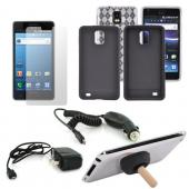 Samsung Infuse 4G Essential Bundle w/ Clear Crystal Silicone Case, Black Silicone Case, Screen Protector, Car Charger, Travel Charger, &amp; Black Plunger Stand