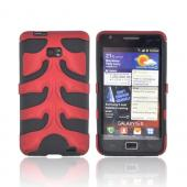 Original Nex AT&amp;T Samsung Galaxy S2 Rubberized Hard Fishbone on Silicone Case w/ Screen Protector, SAMI777FB03 - Red/ Black