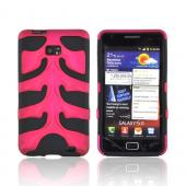 Original Nex AT&amp;T Samsung Galaxy S2 Rubberized Hard Fishbone on Silicone Case w/ Screen Protector, SAMI777FB05 - Rose Pink/ Black