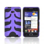 Original Nex AT&amp;T Samsung Galaxy S2 Rubberized Hard Fishbone on Silicone Case w/ Screen Protector, SAMI777FB08 - Purple/ Black