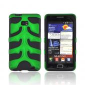 Original Nex AT&amp;T Samsung Galaxy S2 Rubberized Hard Fishbone on Silicone Case w/ Screen Protector, SAMI777FB10 - Green/ Black