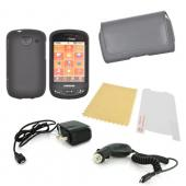 Samsung Brightside Essential Bundle Package w/ Black Rubberized Hard Case, Screen Protector, Leather Pouch, Car &amp; Travel Charger