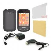 Samsung Brightside Essential Bundle Package w/ Black Rubberized Hard Case, Screen Protector, Car &amp; Travel Charger