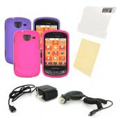 Samsung Brightside Essential Girly Bundle Package w/ Hot Pink &amp; Purple Rubberized Hard Case, Mirror Screen Protector, Car &amp; Travel Charger??