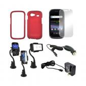 Google Nexus S 4G Essential Bundle Package w/ Red Rubberized Hard Case, Mirror Screen Protector, Macally Suction Mount, Car &amp; Travel Charger