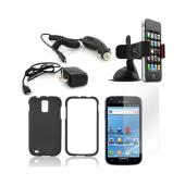 T-Mobile Samsung Galaxy S2 Essential Bundle Package w/ Black Rubberized Hard Case, Screen Protector, Car &amp; Travel Charger, &amp; Windshield Car Mount