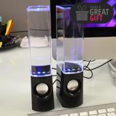 Multi-Colored Illuminated Dancing Water Speakers w/ USB Cable & 3.5mm Cords