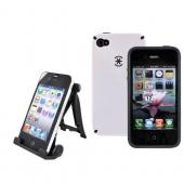 AT&amp;T Apple iPhone 4 Speck White Speck CandyShell Case and 3Feet Holder Stand Bundle