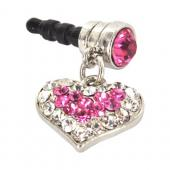 Universal 3.5mm Headphone Jack Stopple Charm - Silver Heart w/ Pink Gems