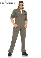 LegAvenue Costume Original Top Gun Men's Flight Zipper Front Dress w, Interchangeable Name Badges &amp; Aviator Sunglasses TG83702