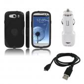 Samsung Galaxy S3 Bundle w/ Black Aegis Hard Case Over Silicone, Screen Protector, Dual USB Car Charger Adapter &amp; Micro USB Data Cable