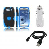 Samsung Galaxy S3 Bundle w/ Blue/ Black Aegis Hard Case Over Silicone, Screen Protector, Dual USB Car Charger Adapter &amp; Micro USB Data Cable