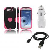 Samsung Galaxy S3 Bundle w/ Pink/ Black Aegis Hard Case Over Silicone, Screen Protector, Dual USB Car Charger Adapter &amp; Micro USB Data Cable