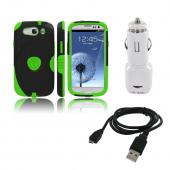 Samsung Galaxy S3 Bundle w/ Lime Green/ Black Aegis Hard Case Over Silicone, Screen Protector, Dual USB Car Charger Adapter &amp; Micro USB Data Cable