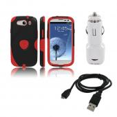 Samsung Galaxy S3 Bundle w/ Red/ Black Aegis Hard Case Over Silicone, Screen Protector, Dual USB Car Charger Adapter &amp; Micro USB Data Cable