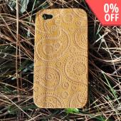 Exclusive TPhone Apple Verizon/ AT&T iPhone 4, iPhone 4S 100% Hard Wood Back Cover Case - Teak Brown Wood (Paisley Design)