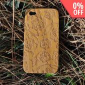 Exclusive TPhone Apple Verizon/ AT&amp;T iPhone 4, iPhone 4S 100% Hard Wood Back Cover Case - Teak Brown Wood (Rose Vine Design)