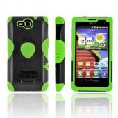Original Trident Aegis LG Lucid 4G Hard Cover Over Silicone Case w/ Screen Protector, AG-LG-VS840-TG - Lime Green/ Black