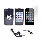 AT&T/ Verizon Apple iPhone 4, iPhone 4S New York Yankees Bundle w/ Yankees Hard Case, Yankees Earbuds, & Anti-Glare Screen Protector